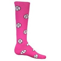 SOFTBALL & BASEBALL PATTERNED KNEE SOCKS - 8 Colors Available - Kids and Adults