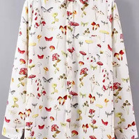 Korean Turn-down Collar Idyllic Floral Printed Blouse