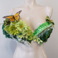 Forest Bra, Green Rave Bra Custom Event Outfit