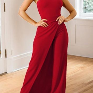 Red Slit Off Shoulder Backless Party Wide Leg Long Jumpsuit