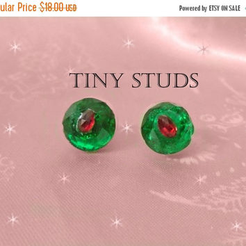 SALE Rhinestone Stud Earrings - OOAK for Holidays - Emerald & Ruby Rhinestones - Christmas Colors