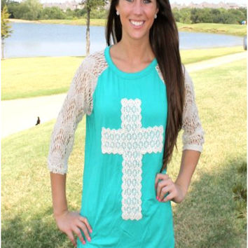 Cross With Raglan Lace Sleeves Shirt In Turquoise