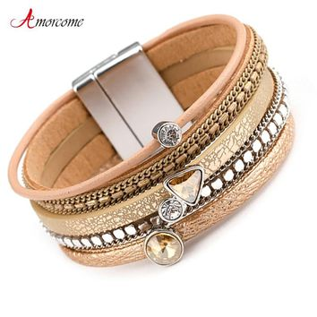 Amorcome Multilayer Leather Bracelets for Women Trendy Rhinestone Crystal Charm Femme Wide Bracelets & Bangles Female Jewelry