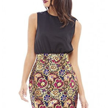 Black and Red Sleeveless 2 in 1 Floral Skirt Mini Dress