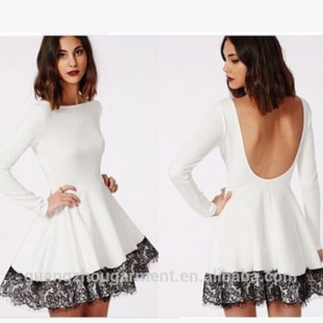 Backless Long Sleeve Lace Mosaic One Piece Dress [4918632388]