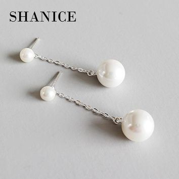 SHANICE 925 Sterling Silver Needles Fashion Round Circle With Long Tassel With Shell Pearl Stud Earrings for Women Fine Jewelry