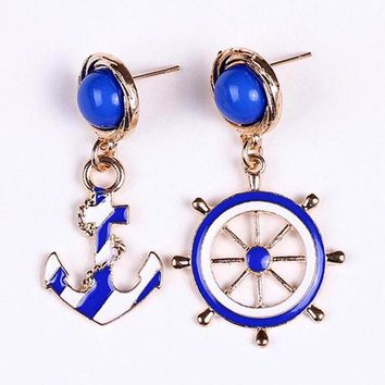 Blue Kiss Hot Selling European And American Fashion Personality Style Anchor Earrings