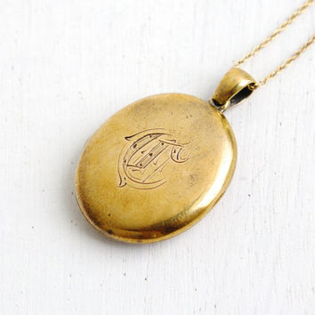 Antique Victorian Hair Locket- Late 1800s Gold Filled Monogrammed C Oval Mourning Locket