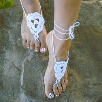 Handmade Crochet Barefoot Sandals,Hippie Foot Thongs, Bridal, Bridesmaids, Summer, Beach, Sandals, Festival,Yoga, Bellydancing,Bohemian