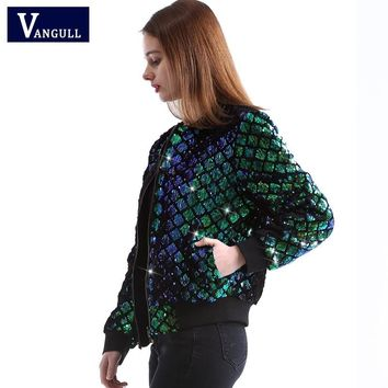 Vangull New Spring Women Sequin Coat Green Bomber Jacket Long Sleeve Zipper Streetwear Jacket Preppy Casual Basic Coat