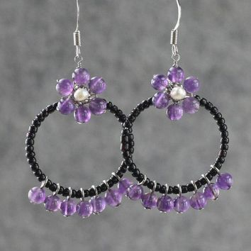 Amethyst flower hoop earrings Bridesmaids gifts Free US Shipping handmade Anni Designs