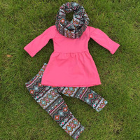 2-7t FALL/Winter kids OUTFITS 3 pieces scarf pant sets girls Hot sell Aztec boutique clothes kids hot pink top sets