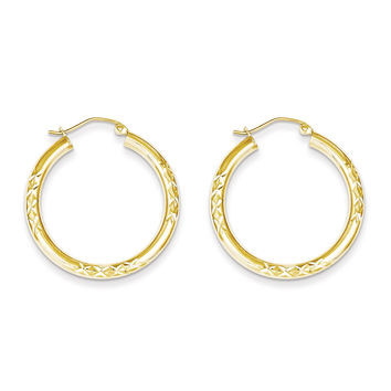 10K Diamond Cut 3x30mm Hollow Tube Hoop Earrings 10TC346