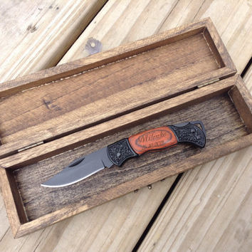 Personalized Gift Box & Pocket Knife Set - Engraved Wooden Keepsake Box - Customized Pocket Knife - Wedding, Birthday, Father's Day