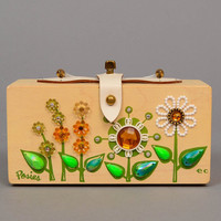 Vintage 60s ENID COLLINS Posies Purse Mod Floral Jewel Wood Box Hand Bag