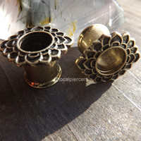 Tunnel Earrings Tribal Flower Gauge 2g 00g 4g Double Flared Tunnels Piercing Ear Plug Body Jewelry Antique Gold Finish 0g Plugs