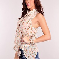 Coral Floral Crochet Racer Back Top
