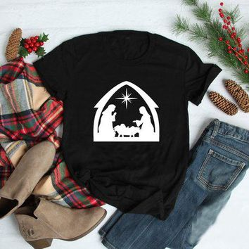 Unisex Girl Short Sleeve Graphic Tee Hipster Popular Christmas Jesus Tops Casual Cotton Grunge Vintage Camisetas Funny Shirts