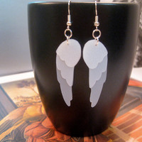 Angel Wing Recycled Milk Jug Earrings by Junktion11 on Etsy