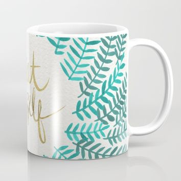 Treat Yo Self – Gold & Turquoise Mug by Cat Coquillette