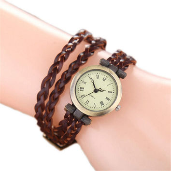 Ethnic Style Handmade Weave Strap Watch for Women Girls Unisex Sports Casual Watches Best Christmas Gift