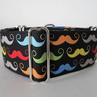 """Mustache Martingale Collar, 1.5"""" Martingale Collars, 2 Inch Martingale Collar, Mustache Dog Collar, Greyhound Collar, Sighthound, Movember"""