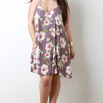 Plus Size Hibiscus V-Neck Trapeze Dress | UrbanOG