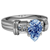 2.71 carats Blue pear halo diamond three stone wedding ring white gold 14K