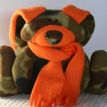 Eric - Camouflage Toy Bunny - teething toy, sucky and chewable, collectible, autumn, fall, ofg, canteam, waldorf, orange,