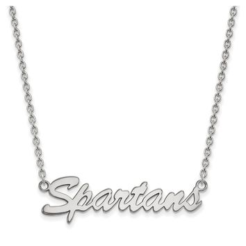 NCAA Sterling Silver Michigan State Medium Pendant Necklace