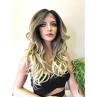 Blond Ombre Balayage Highlights 14 inches | Swiss Front Lace Wig | Soft Layered Hair | Diane