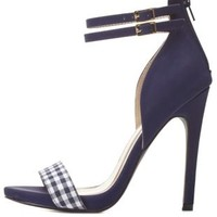 Navy Combo Qupid Gingham Single Strap Heels