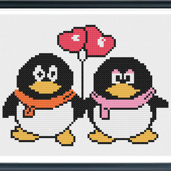 Penguins In Love,cross stitch pattern, PDF counted cross stitch pattern