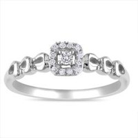 Miadora Sterling Sliver 1/10ct TDW Diamond Promise Ring (G-H, I2)