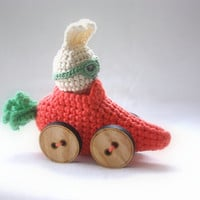 crochet racing bunny in carrot car with button wheels and navigator goggles, bunny decor, UK seller