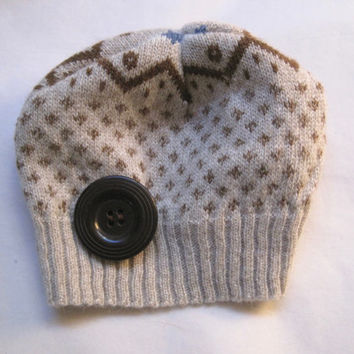 Infant Premie Baby Boy Recycled Sweater Beanie with Matching Button Accent Baby Boy Winter Hats