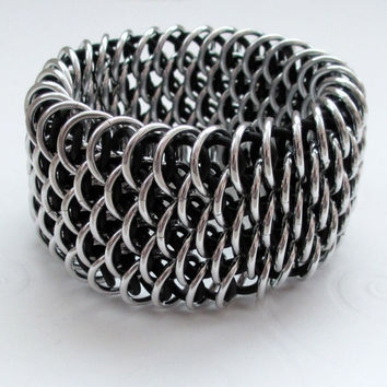 Stretchy Dragonscale chain maille bracelet by TattooedAndChained