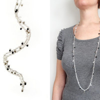 Long chain necklace glass pendants grey black clear beads elegant wrap