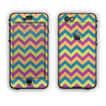 The Retro Colored Green & Purple Chevron Pattern Apple iPhone 6 Plus LifeProof Nuud Case Skin Set