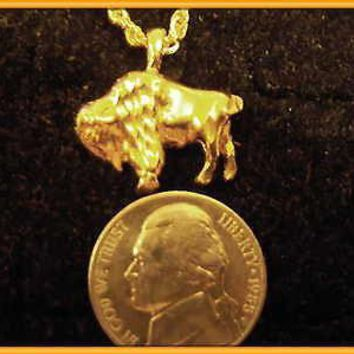 bling gold plated indian buffalo charm 24 in rope chain hip hop necklace jewelry