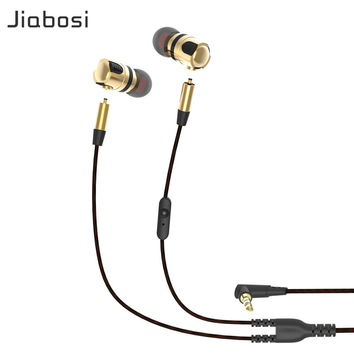 Jiabosi X46M High Quality Detachable Earphone Wired Music Headset HiFi Earphones Bass In ear with Microphone Plug For Iphone