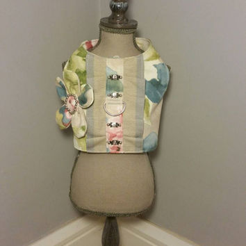 Dog harness vest - handmade pet clothes - small dog clothes - cute dog harness with attached flower