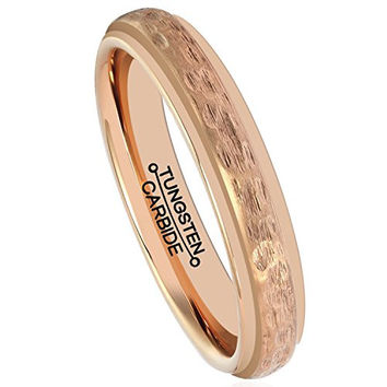 4mm Rose Gold Tungsten Ring Men Tungsten Carbide Wedding Band Plated Matte Handcrafted Hammered Grain