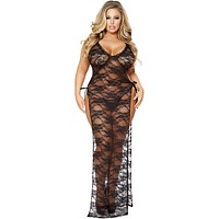 Sexy Italian Plus Size Maxi Gown With Tied Straps and Splits