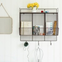 Metal Shelf with Hooks