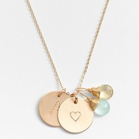 Women's Nashelle Aqua Chalcedony, Lemon Quartz, Initial & Heart 14k-Gold Fill Disc Necklace
