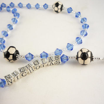 Soccer Name Rosary First Communion, Ball, Personalized, Boy, Girl, Choose your colors, Confirmation, Baptism Gift, christenings