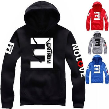 Eminem Letter Print Fashion Women Men Style Long Sleeve Hooded Hoodie Hip Hop Bboy Unisex Autumn Coat Wind Coat T-shirt [9145125062]