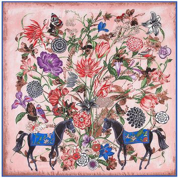 New 130cm*130cm Heavy Twill Silk  Scarf Large Big Square Nandana Wrap Horse Flower Oil Painting Four Bright Color for Women Lady
