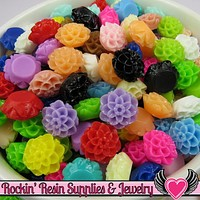 10mm Resin Chrysanthemum FLOWER CABOCHONS Assorted Colors
